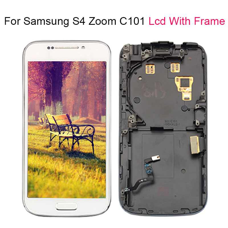 For Samsung Galaxy S4 SIV ZOOM C101 LCD Touch Screen Display With frame Digitizer Assembly 100
