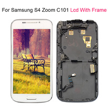 Per Samsung Galaxy S4 SIV ZOOM C101 LCD Display Touch Screen Con cornice Digitizer Assembly 100% Testato