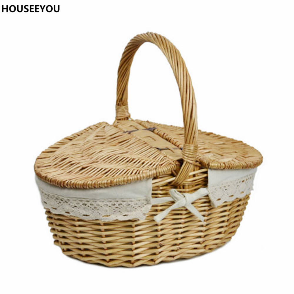 Willow Wicker Basket Camping Picnic Storage Baskets With Lid And Handle  Environment Friendly Handwoven