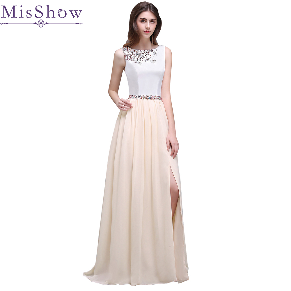 Well-Educated Real Photos 2019 Beading Crystal Belt Long Evening Dresses A-line Side Slit Chiffon Evening Party Dress Gowns Robe De Soiree Ideal Gift For All Occasions Weddings & Events
