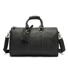 Genuine Leather Bag soft surface wear crazy horse leather men's luggage bag retro portable large capacity travel bag retro first layer of leather cylinder travel bag large capacity retro crazy leather men bag leather zipper bag