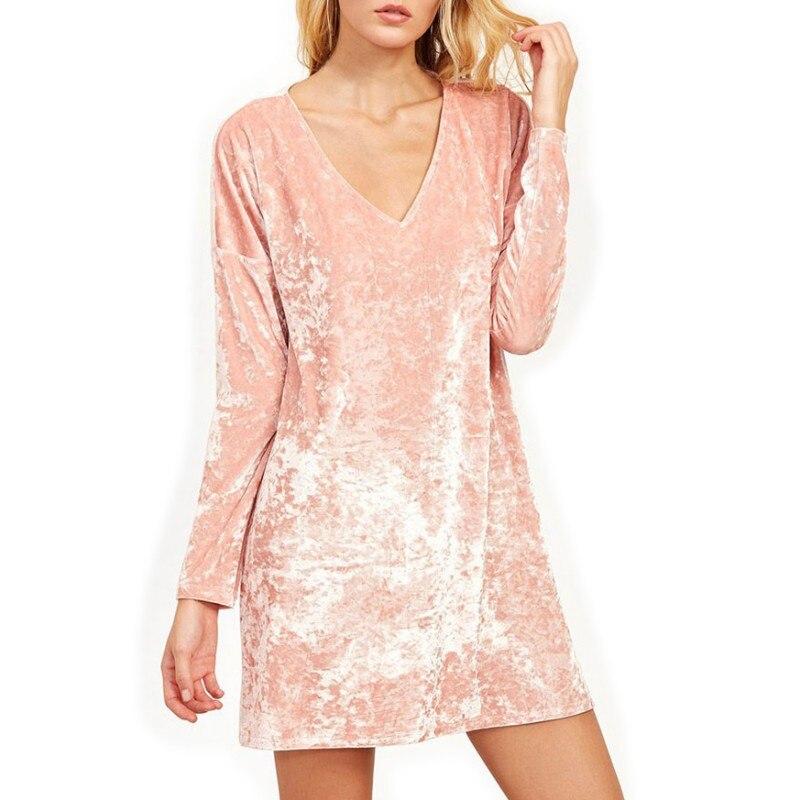 2017 Autumn Summer Women Sexy Bling Dresses Pink Velvet V-neck long Sleeve Female dress