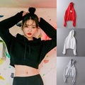 Fashion Bts Sweatshirt Hoodies Women Long Sleeve Top Crewneck Black Pullover Short Crop Tops Hoodies Sweatshirt Moletom Feminino