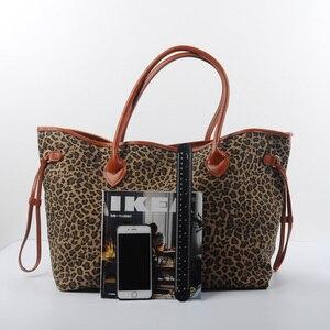 Image 3 - Nam Hot Bán Hàng Leopard Phụ Nữ Canvas Túi Xách Phụ Nữ Lớn Tote Giản Dị Túi Phù Dâu Quà Tặng Có Thể Được Thêu