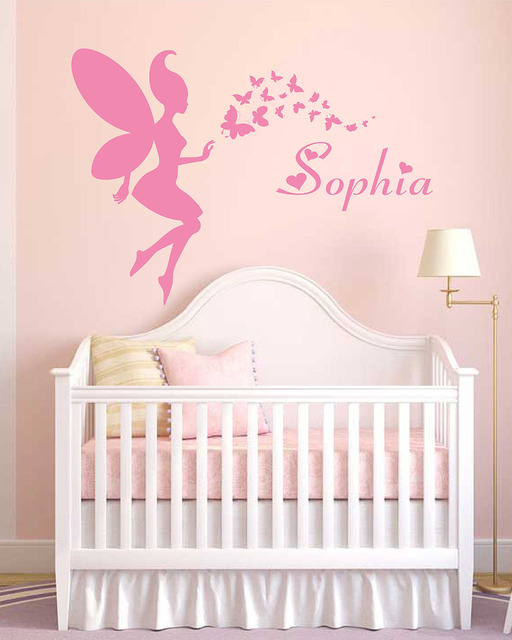 Fairy And Personalized Name Wall Stickers Decals Baby Nursery Decor Custom Vinyl