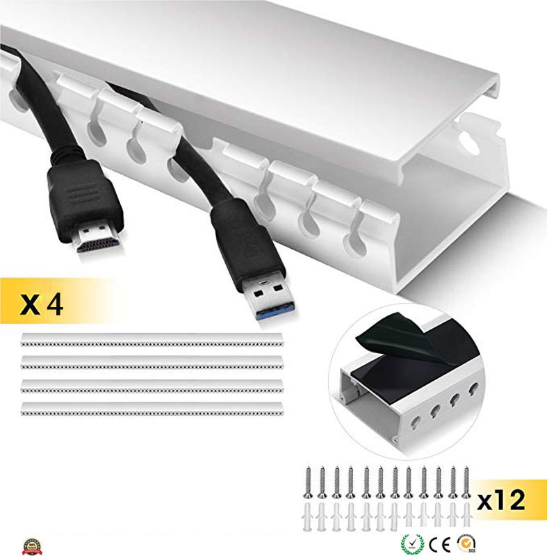 Kit de chemin de câbles Kit de système de gestion de câble conduit de chemin de câbles à fente ouverte avec couvercle sur le mur organisateur de cordon correcteur de câble