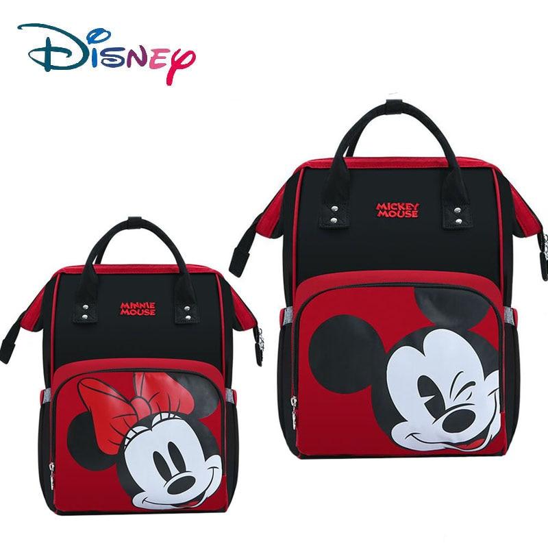 Disney mignon Minnie Mickey rouge sac à langer sac momie sac à dos grand imperméable bébé Nappy sac maternité rayé noeud motif de points