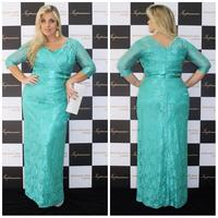 Turquoise Lace Mother Of The Bride Dresses Sheath Evening Gowns With Sleeve Maxi Women Vestidos Mae