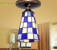 2016 Đông Địa Trung Hải kính sắt lối đi đèn trần cho phòng khách foyer màu xanh và trắng trần ngắn gọn đèn N1251
