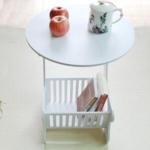 Image 5 - Multifuncional prateleira de armazenamento de madeira mesa de café mesa de chá mesa lazer revista rack de armazenamento oco esculpido