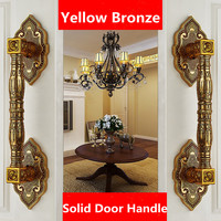 370mm Vintage style top quality solid wooden glass big gate door handles yellow brone ktv home office hotel door handles pulls