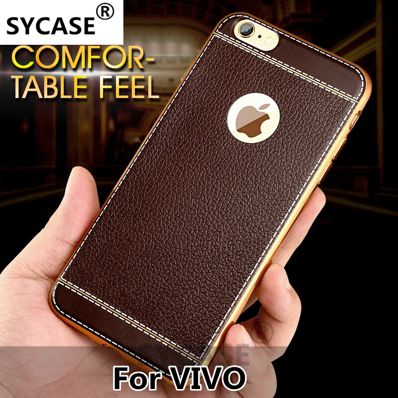 SYCASE Luxury Leather Phone <font><b>Case</b></font> For <font><b>Vivo</b></font> Y66 Y67 Y51 Y53 X6 X7 X9 X20 plus <font><b>V3max</b></font> Xplay silicone black dirt-resistant cover <font><b>case</b></font> image