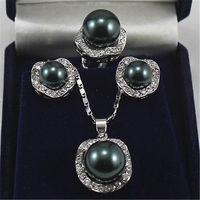 Wedding Jewelry 10mm &14mm Black Necklace Earrings Ring Set