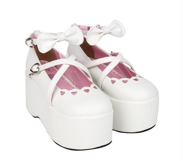 Empreinte 47 White 33 Partie Lady Fille Angélique Mori Bagatelle Chaussures Femme Haute Princesse Cosplay Talons Robe Femmes Pompes Lolita Coins SC1dqTxnw1