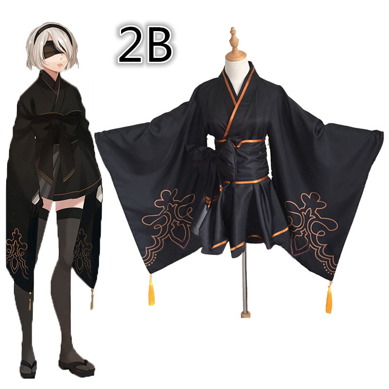 Game NieR Automata figure 2B 9S Fanart Kimono Suit Uniform Halloween Cosplay Costume for women men