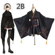 Game NieR Automata figure 2B 9S Fanart Kimono Suit Uniform Halloween Cosplay Costume for women men Adult