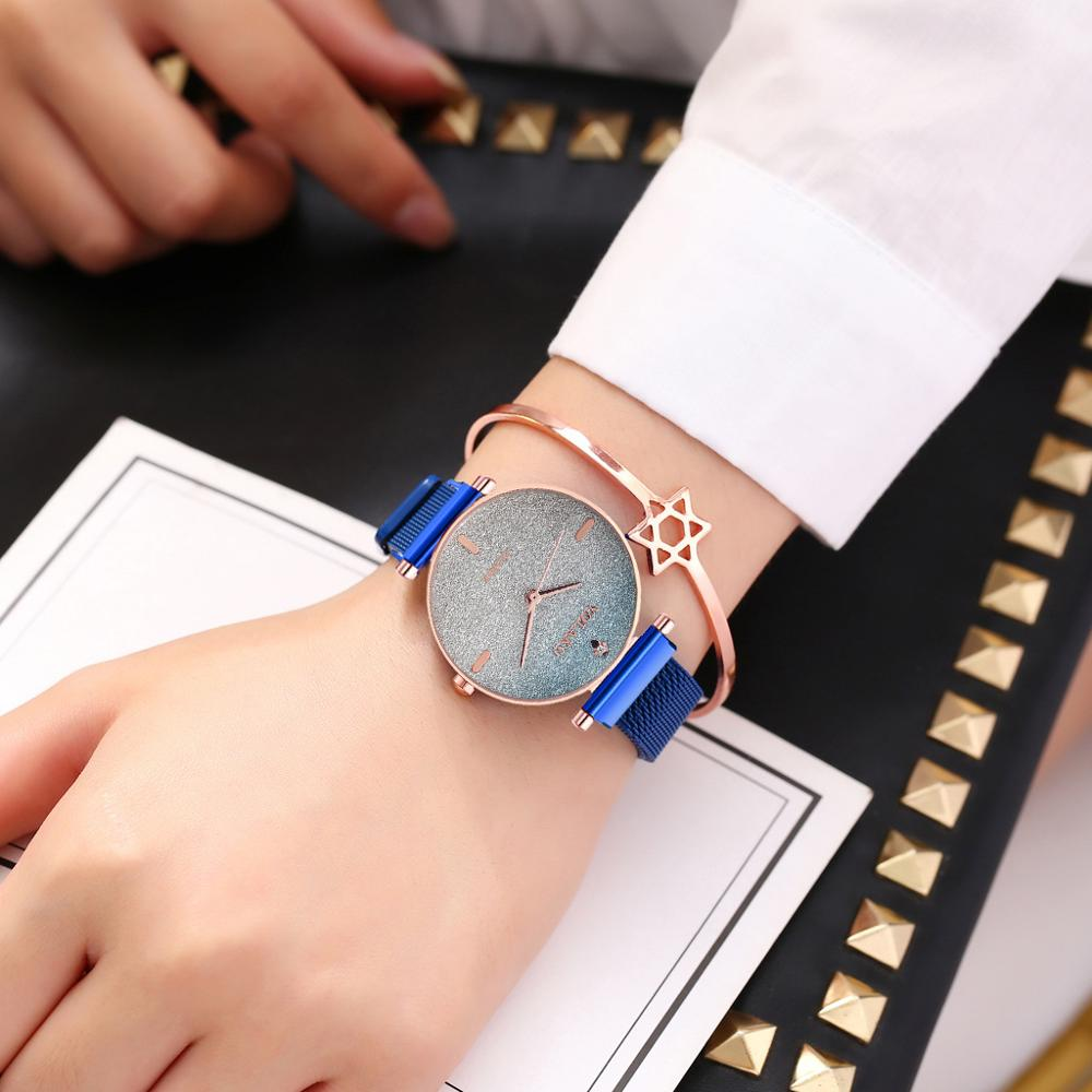 New Ladies Casual Watch Purple 2019 Simple Style Quartz Watch Women Starry Sky Magnetic Wristwatches Luxury Crystal Female Clock in Women 39 s Watches from Watches