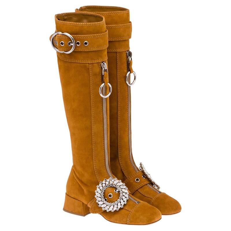 Daim femmes bottes paillettes cristal Long chaussons métal ceinture boucle Design femmes chaussures Double fermeture éclair femmes hiver bottes Med talon