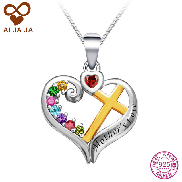 Aliexpress buy aijaja personalized two tone birthstones aijaja personalized two tone birthstones engraved pendants necklaces 925 sterling silver customized mothers love heart pendants mozeypictures Choice Image