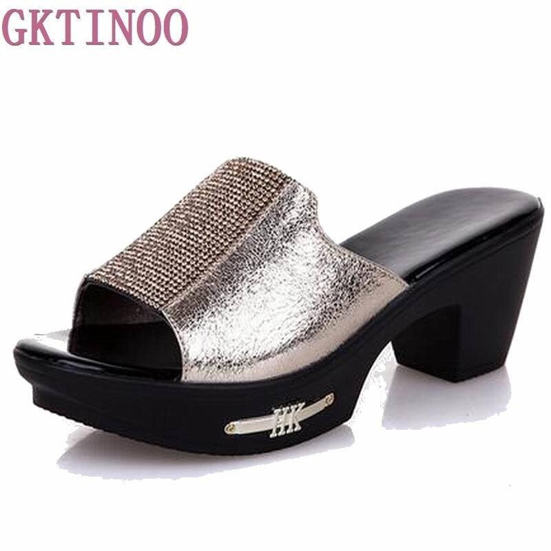 Women Slipper's 2018 Ladies Summer Slippers Shoes Women high Heels Fashion Rhinestone summer shoes new arrived S055