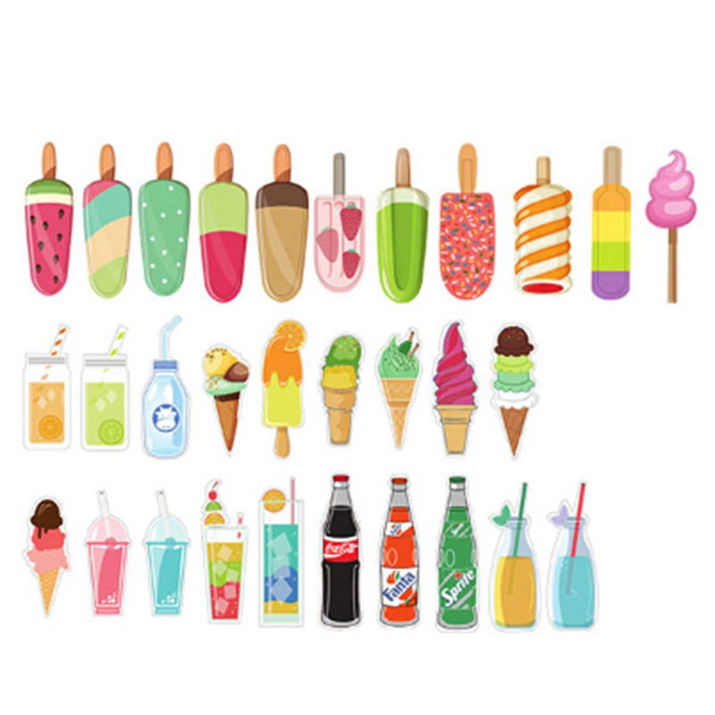 30 Pcs/lot New Cute Ice Cream Soda Paper Bookmark Gift Stationery Film Bookmarks Book Holder Message Card School Supplies