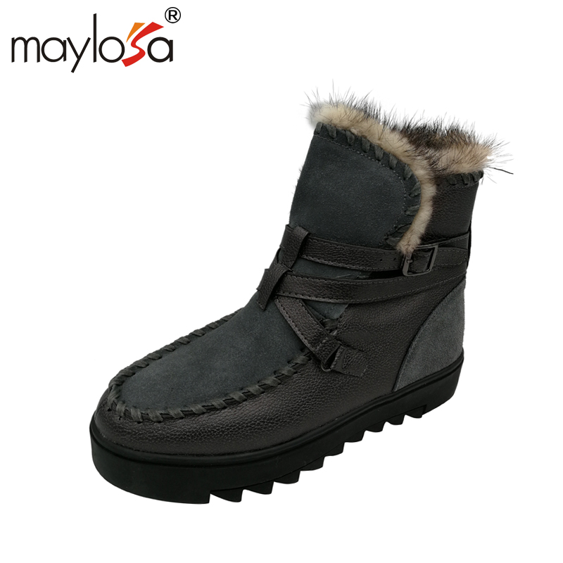 MAYLOSA Women Snow Boots Genuine Leather Warm Winter Short Boots Plush Fur Shoes Woman Casual Ankle Boots for Women snow boots women thick fur warm short plush winter shoes 2017 ankle boots for rubber for women