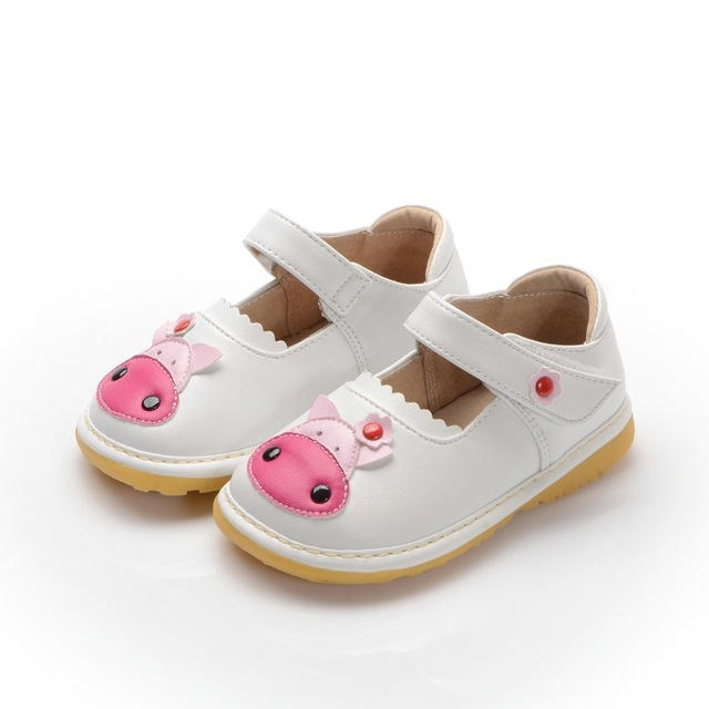 1-3Y Cute Cow Baby Shoes Girl Squeaky Shoes Soft Toddler Autumn Shoes Free Shipping Little Girl  Leather Shoes