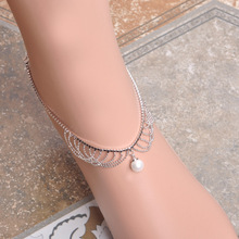 MECHOSEN Summer Multilayers Chain Anklets For Women Simulated Pearl Beads Ankle Bracelet Zirconia Prong Setting Crystal Jewelry