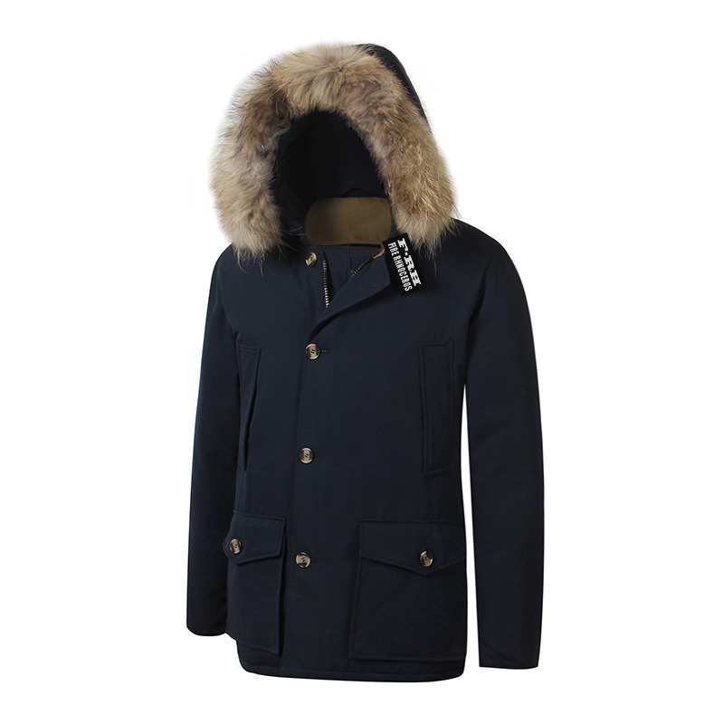 2018 Brand New Mens White Duck Down thick Coat Winter Arctic Down PARKA with removable real raccoon fur Jacket