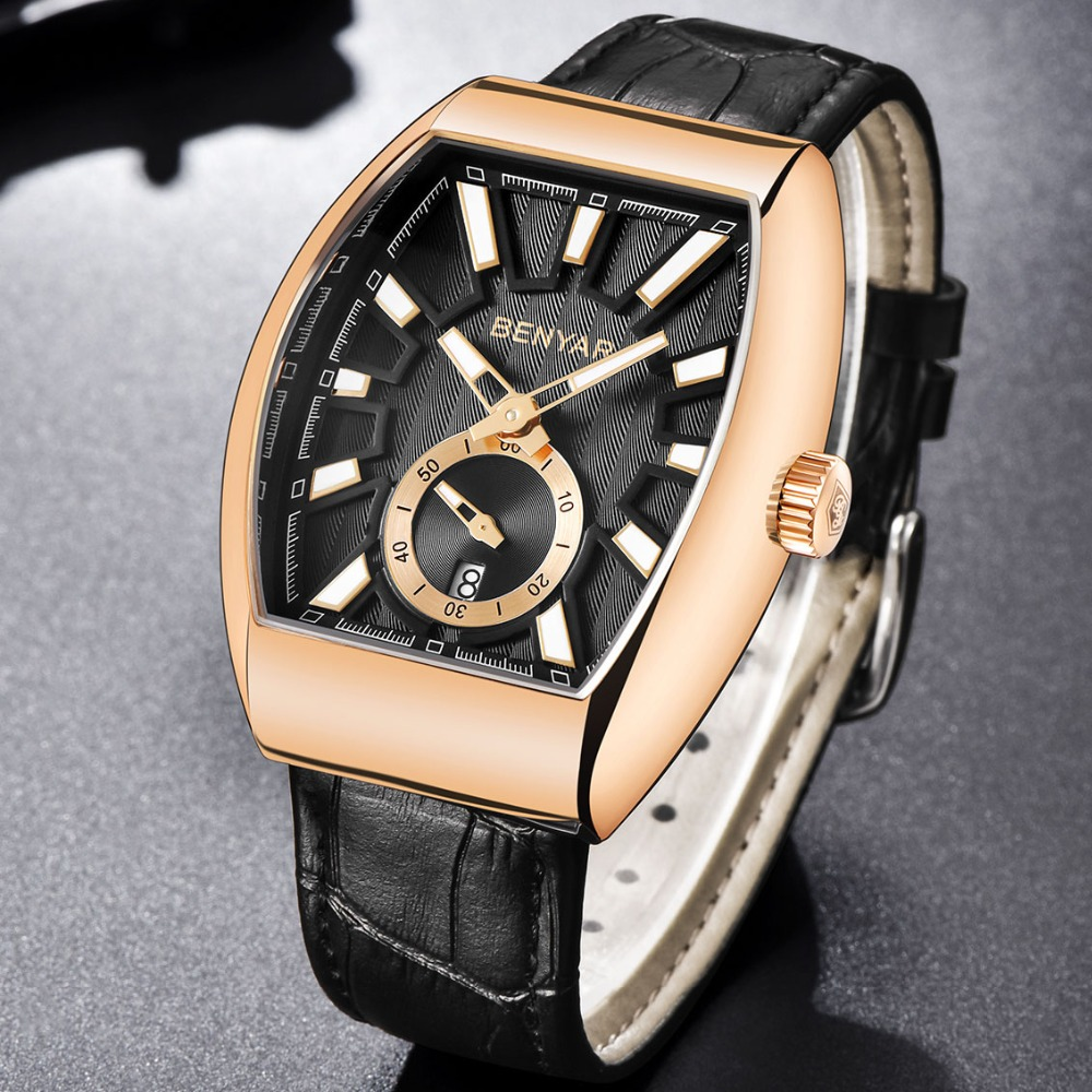 Benyar Business Watch Men Waterproof Quartz Square Watch Men Genuine Leather Golden Wrist Watch Men Clock Male relojes hombre цена и фото