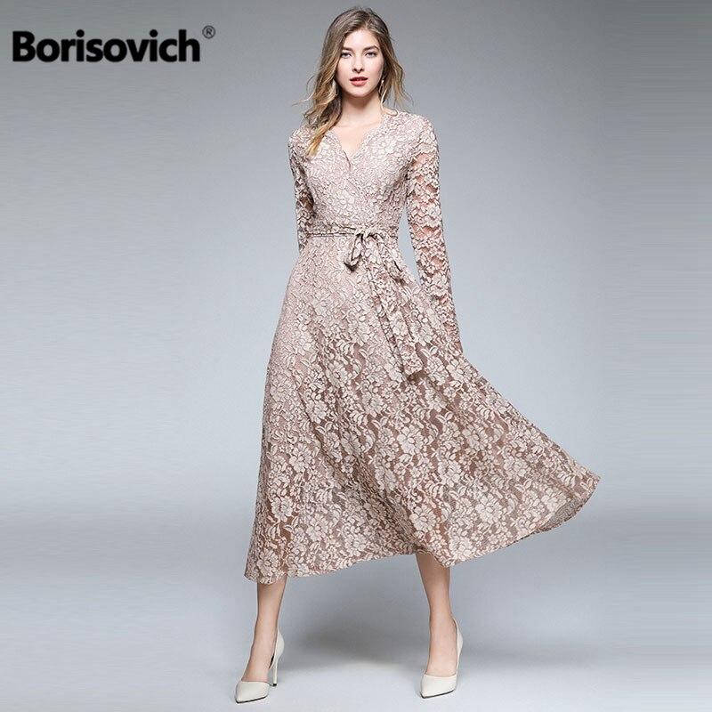 Borisovich luxe dentelle longue robe nouvelle marque 2018 automne mode Vintage col en v grand Swing élégant femmes robes décontractées M855