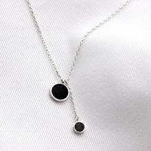 Простые черные большие маленькие круглые ожерелья с подвесками-Кисточками для женщин, трендовый подарок, колье, 925 пробы, серебряные ювелирные изделия, ожерелье SAN84