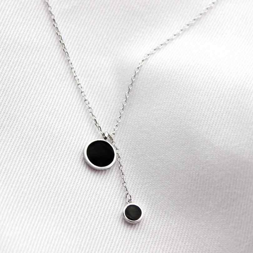 Simple Black Big Small Round Tassel Pendant Necklaces For Women Trendy Gift Choker 925 Sterling Silver Jewelry collares SAN84