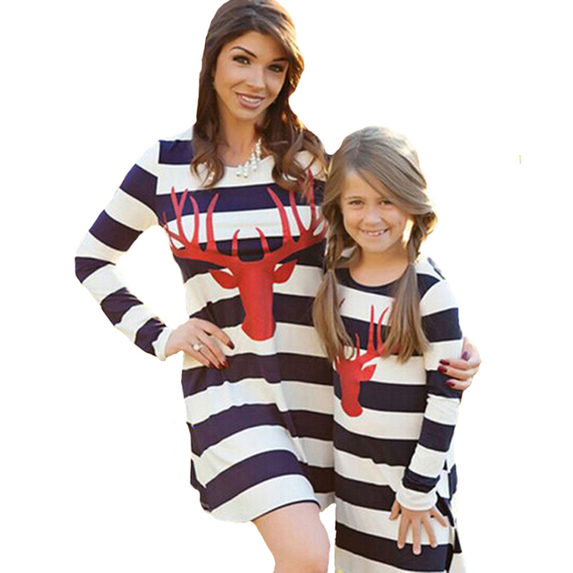 7c826a5cfa Mother Daughter Dresses Casual Spring Autumn Striped Family Look Matching  Clothes Cotton Mom And Daughter Dress Clothing
