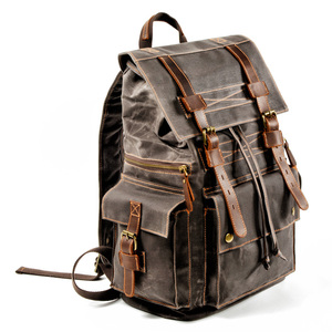 Image 5 - Retro Canvas Mens Backpack Travel Backpacks Tooling Locomotive Computer Bag Europe and The United States Large Capacity Leather