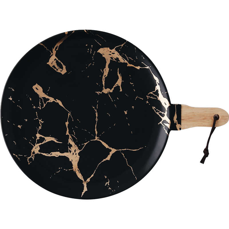 Emas Terbaik Marmer Glasir Keramik Peralatan Makan Pesta Set Porselen Sarapan Piring Hidangan Mie Mangkuk Kopi Cangkir Mug Gelas untuk Dekorasi