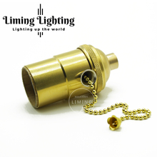 UL certification aluminum shell E26/E27 retro Aluminum Bronze Chandelier Lamp accessories pullswitch Taiwan DIY