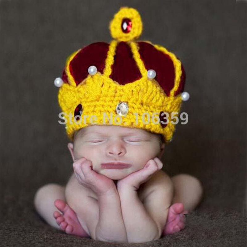 wholesale Handmade Crochet King Crown Baby Crystal Pearls Beanies Hats Caps Newborn Boy Girl Photography Props Knitted Cap newborn photography prop crochet hats handmade baby costume knitted beanies hat caps