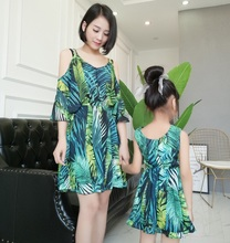 off shoulder chiffon mother daughter dresses mommy and me clothes family look mom mum matching outfits dress clothing