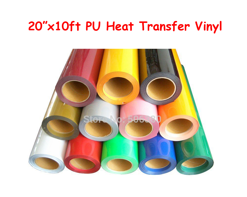 Free shipping 20x10ft PU Vinyl Cutting Plotter Heat Press T-shirt Heat Transfer Vinyl Print one yard 51cmx100cm glitter heat transfer vinyl film heat press cut by cutting plotter diy t shirt 40 colors for choosing