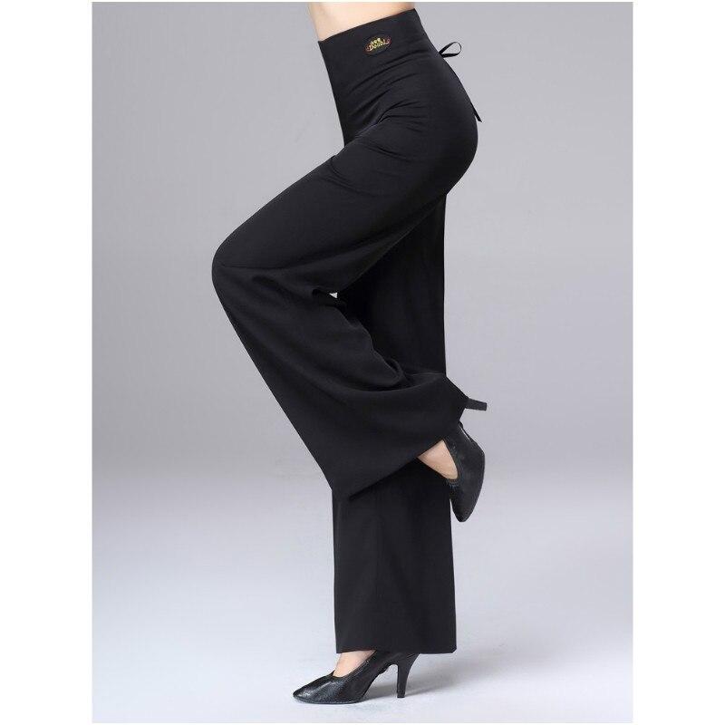 New Lady Latin Dance Trousers Fashion Straight Pants Woman High Waist Wide Leg Trousers Ballroom Performance Dancewear H661