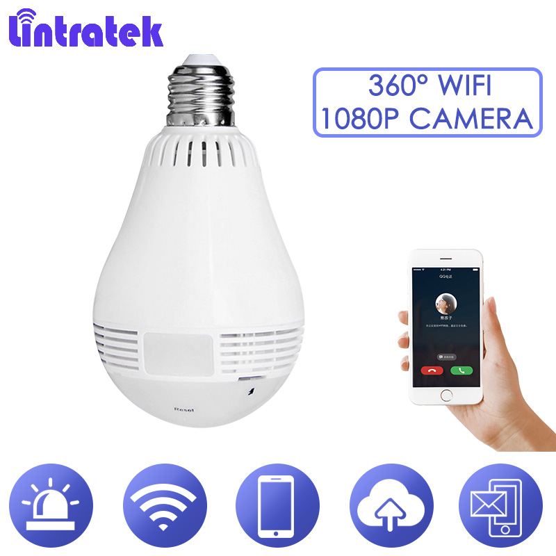 Lintratek 1080P IP Cam Degree cctv Wifi Security Camera Wireless Bulb Light Surveillance 360 Camera Baby Monitor Night Vsion S36
