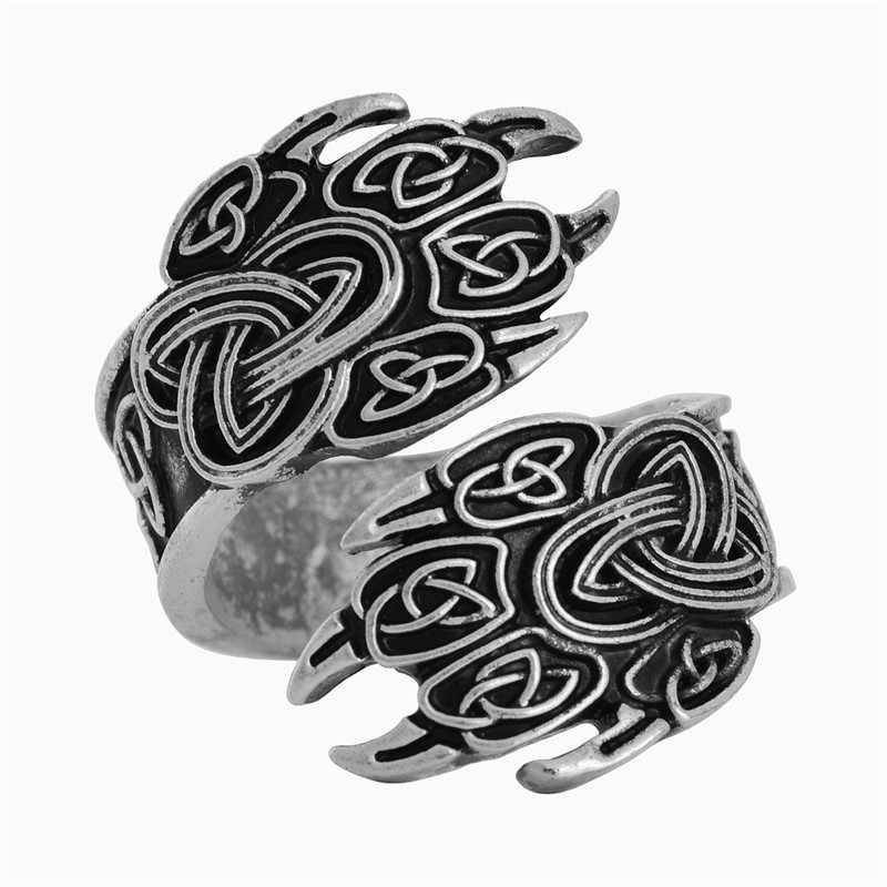 1 pc Orso zampa Vichingo Veles Anelli Celtic Knot Anello