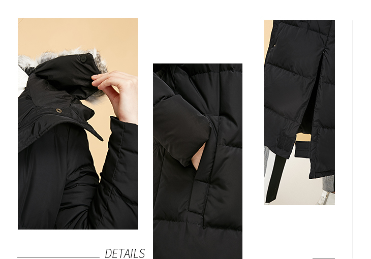 Vero Moda new detachable rabbit fur hooded long down jacket women | 318312503 14