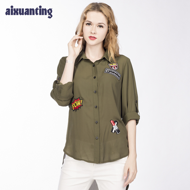 4bfa52893e7 Spring Summer New Style Chiffon Women Blouse Casual Army Green Leisure  Comparable Lady Fashion Top Long Sleeve Camisa Mujer