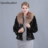 Новые подлинные норковая шуба Настоящее Red Fox меховой воротник Для женщин модные зимние теплые натурального меха норки пальто Роскошная Вер