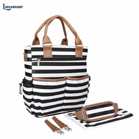 Aboutbaby Baby Diaper Nappy Bags Fashion Stripe Organizer Multifunctional Large Capacity Mummy Tote Nursing Bag For