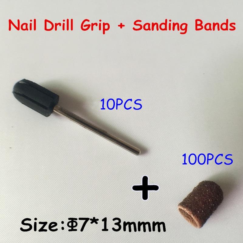7*13mm 100pcs nail Sanding Bands cap +10pcs Nail Art Salon Rubber Grips handle Drill Accessories For Nail Drill Machine