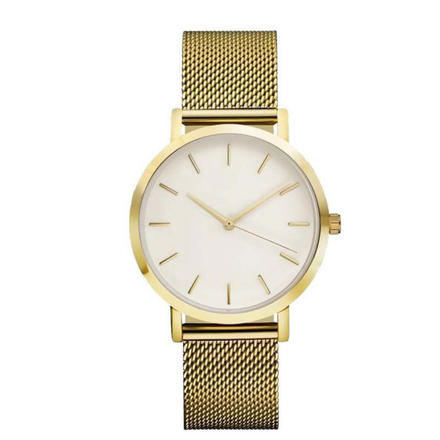 Cool Stuff Fashion Simple Stylish Top Brand Women Watches Stainless Steel Mesh Strap Quartz-watch Thin Dial Men Watch Clock Reloj Mujer 2