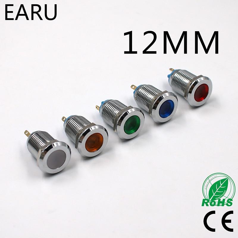 LED Metal Indicator Light 12mm Waterproof Signal Lamp 3V 6V 9V 12V 24V 110V 220V Red Yellow Green White Blue Pilot Switch Blub